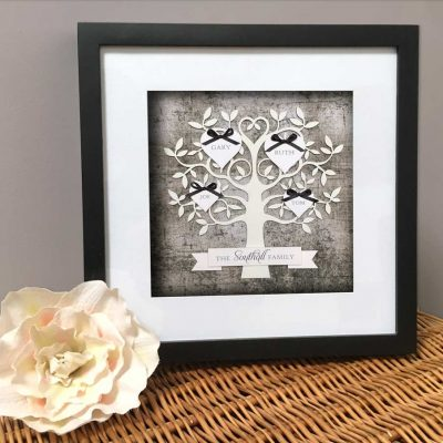 Family Tree - Monochrome with Black Frame