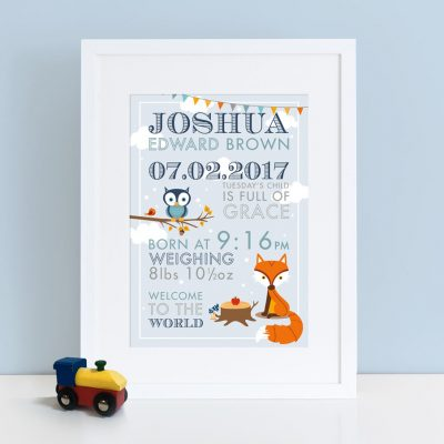 Personalised Boy Woodland Birth Print
